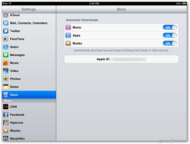 Store Settings iPad