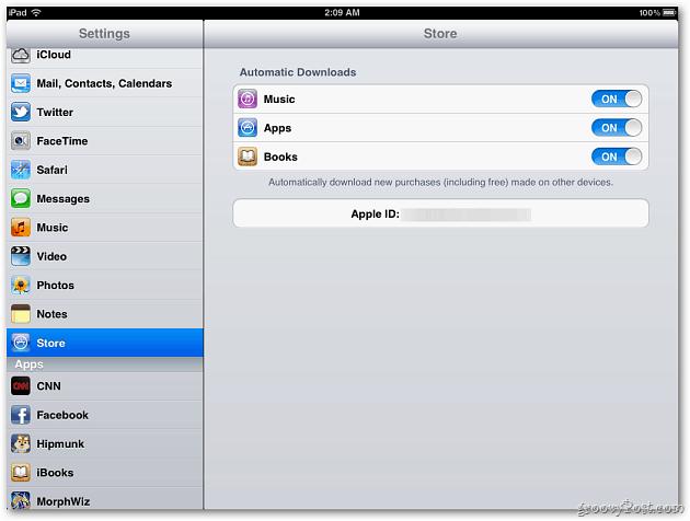 Store Settings iPad