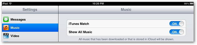 iTunes Match iPad