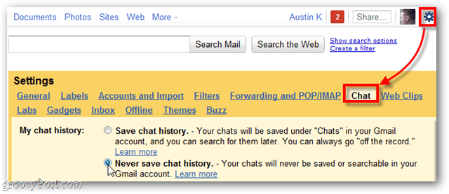 disable Google chat logging entirely