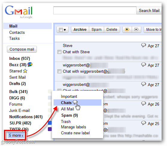 find old recorded chats in Gmail