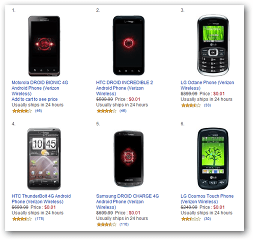 Amazon verizone wireless android phones for only 1 penny