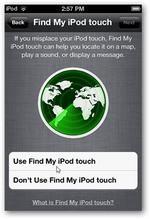 Setup iCloud Find m Ipod Touch