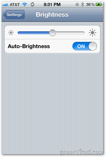 iOS 5 iPhone Brightness Settings