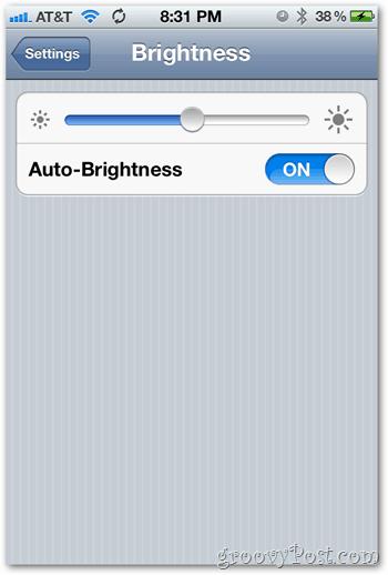 iOS 5 iPhone Brightness Settings