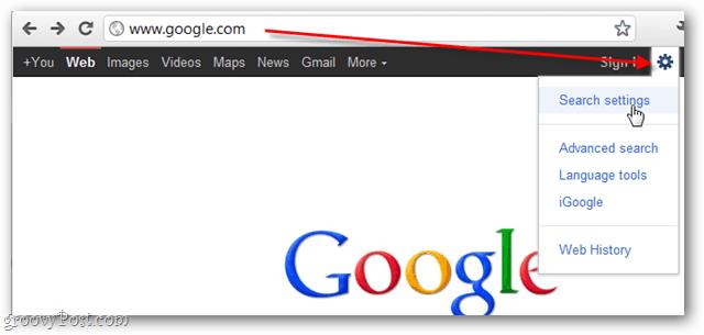 google settings gear box