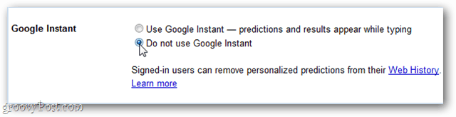 do not use google instant
