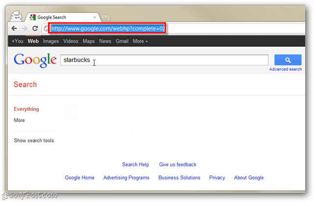 instant search disabled in google chrome