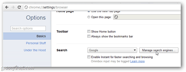 google chrome basics options