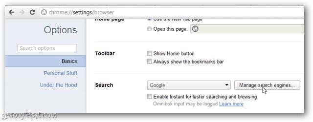 google chrome basics options