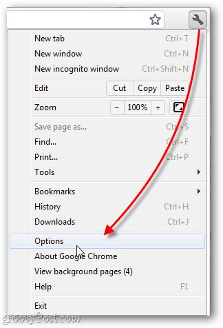 google chrome options