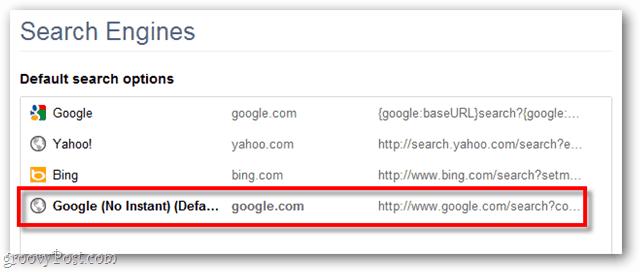 Google Chrome default search options