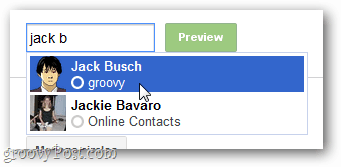 type in a specific contact to view it as