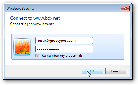 enter box.net credentials