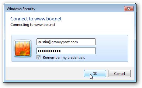 enter box.net credentials