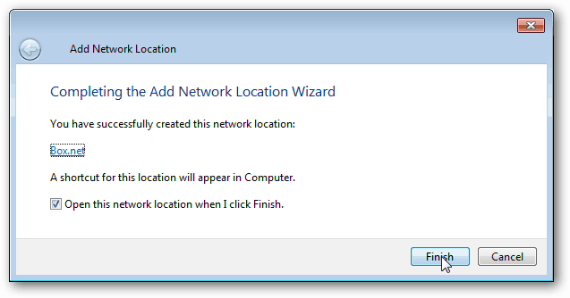 complete add network location wizard