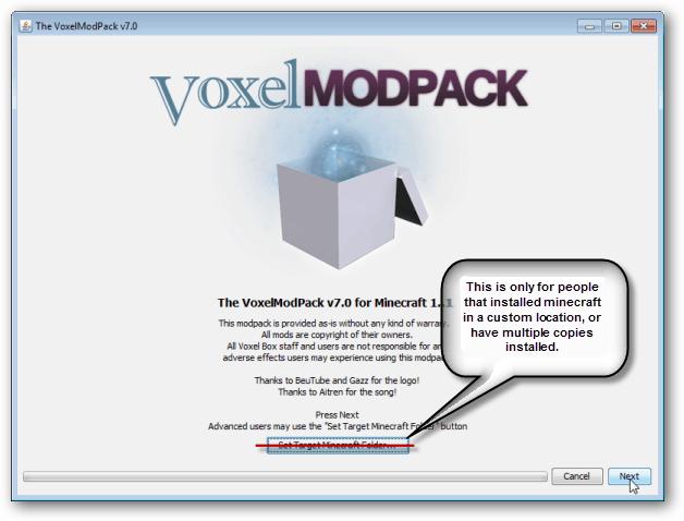 click next, the voxelmodpack installer