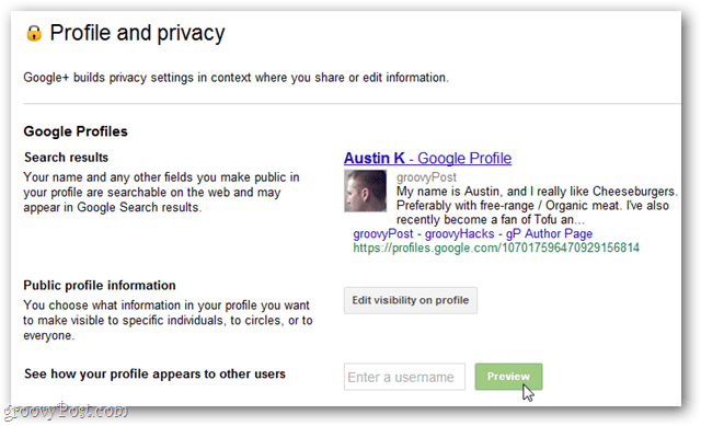 google plus profile and privacy page, search results, public profile information, and see how your profile appears to other users