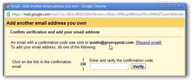 gmail verification page