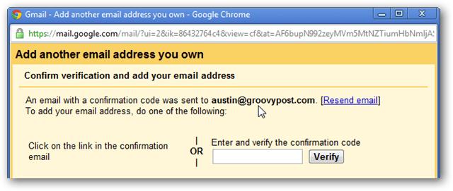 gmail verification page