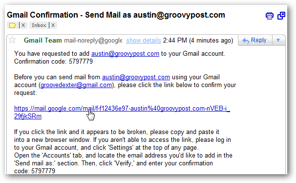gmail inbox - verification email