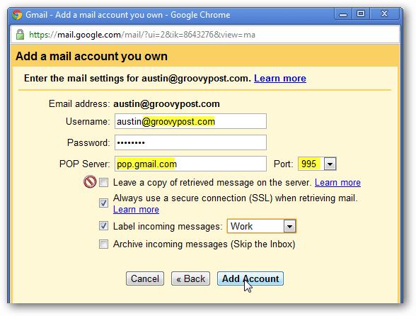 add account pop access