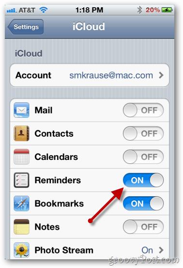 enable icloud iphone reminders