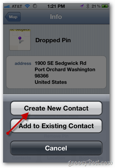 iphone maps create new contact