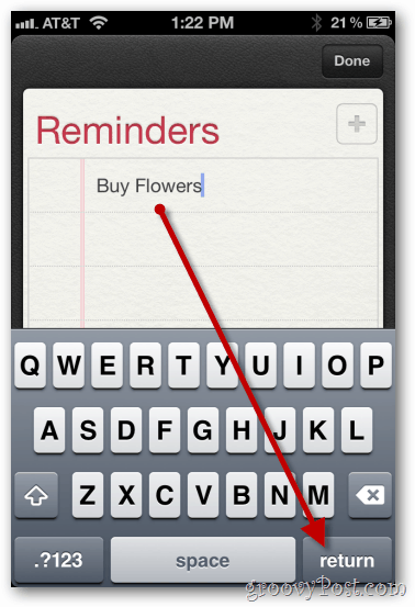 iphone 4 ios 5 reminders type name