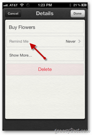 iphone 4 ios 5 reminders remind me options