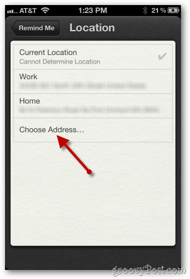 iphone 4 ios 5 at a location choose address