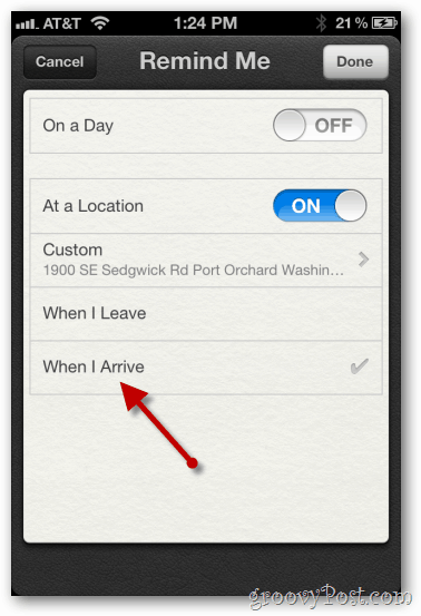 iphone 4 ios 5 configure location based reminder when i arrive