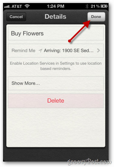 iphone 4 ios 5 configure location based reminder save