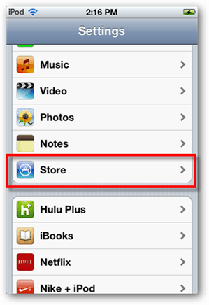 ios 5 store settings