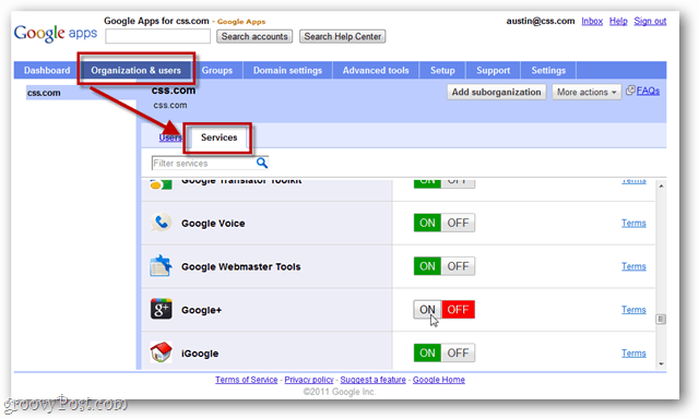 find google+ service in the google apps control panel