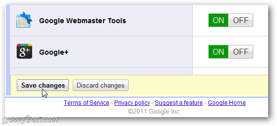 save changes to google+ on google apps