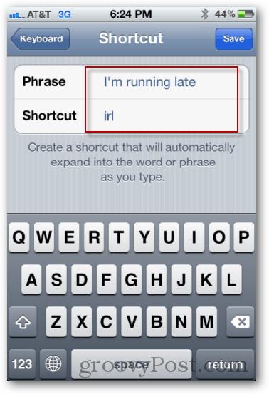 enter phrase and shortcut