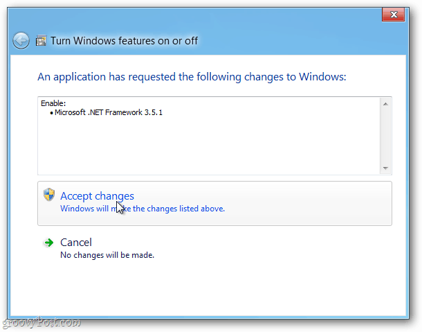 accept changes to microsoft.net framework 3.5.1