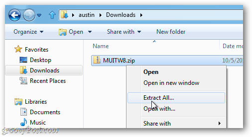 extract the muitw8 zip archive