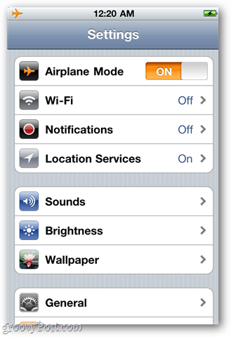 Enter Airplane mode in iOS