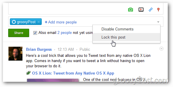Lock or Block comments on google+ post