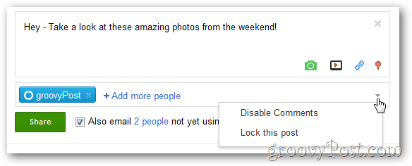 google+ open options menu