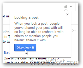 google+ open options menu lock this post confirmation