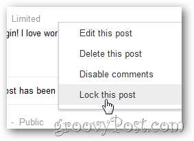 google+ lock this post