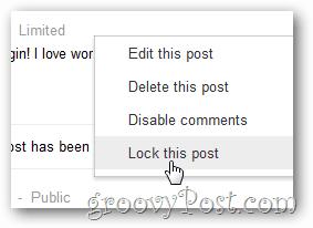 google+ lock this post