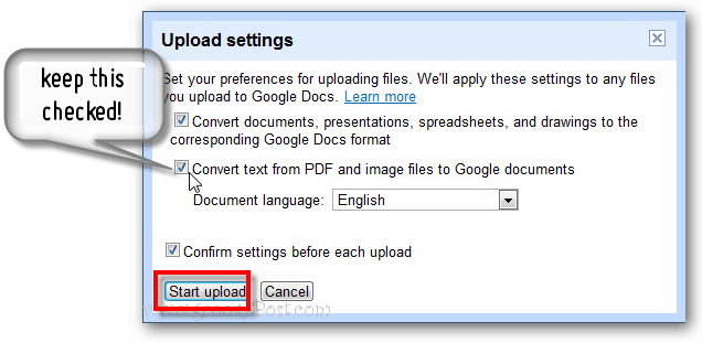 keep conversion settings checked