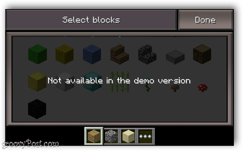 minecraft pocket inventory selection