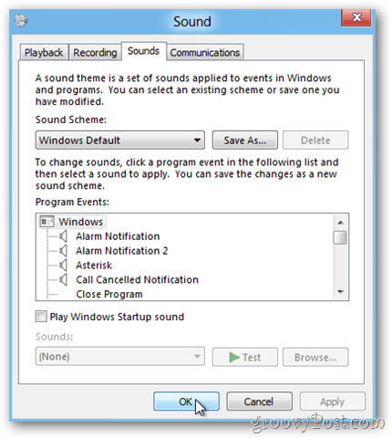windows 8 click ok to save