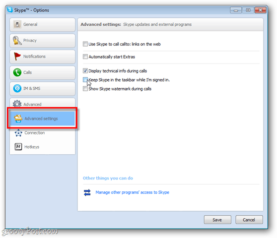 skype advanced settings