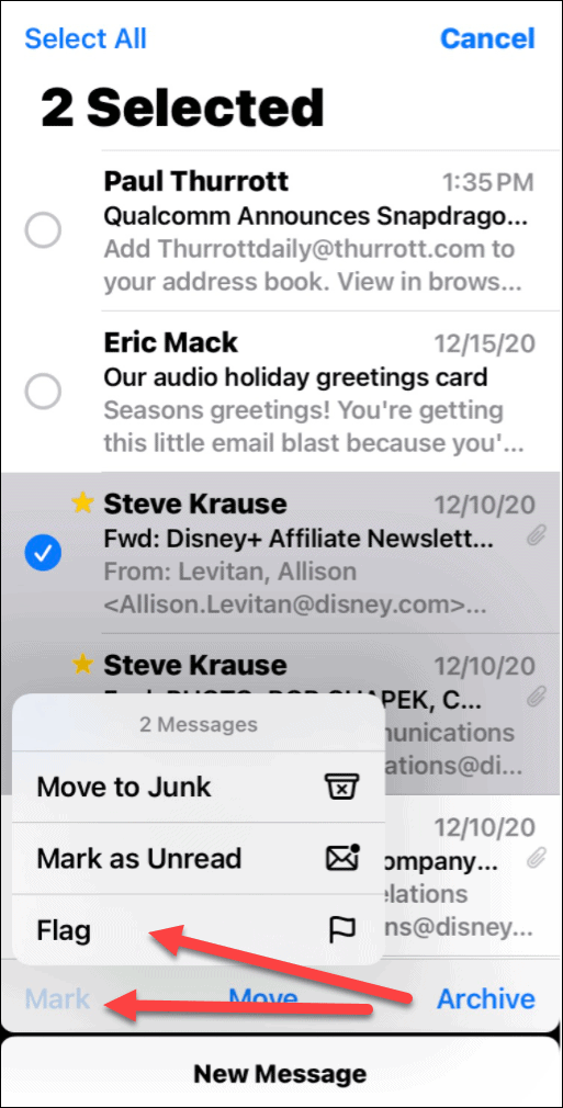 mark email flag iPhone